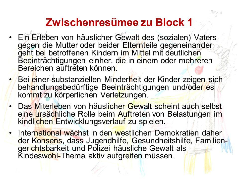 Zwischenresümee zu Block 1 Ein Erleben von häuslicher Gewalt des (sozialen) Vaters gegen die Mutter oder beider Elternteile gegeneinander geht bei bet