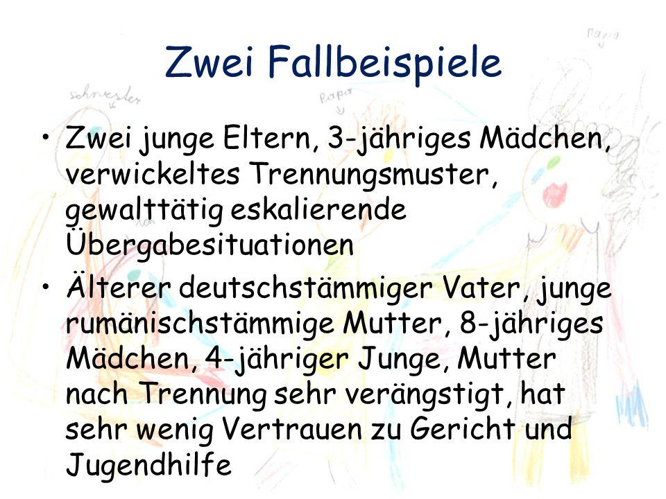 Zwei Fallbeispiele Zwei junge Eltern, 3-jähriges Mädchen, verwickeltes Trennungsmuster, gewalttätig eskalierende Übergabesituationen Älterer deutschst