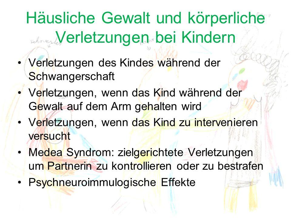 Häusliche Gewalt und körperliche Verletzungen bei Kindern Verletzungen des Kindes während der Schwangerschaft Verletzungen, wenn das Kind während der
