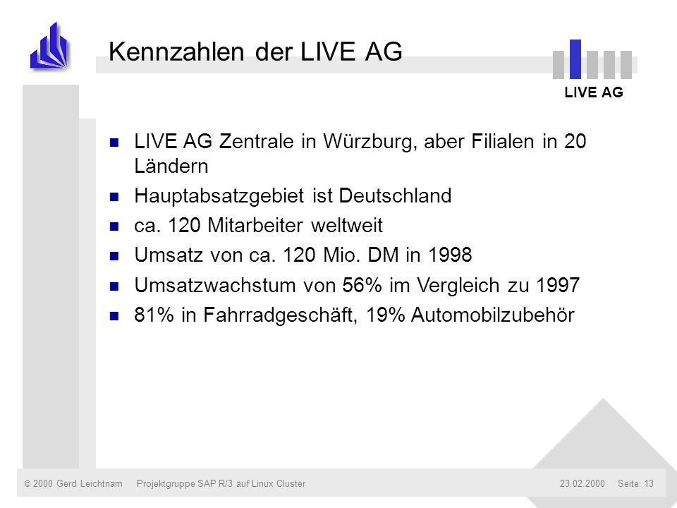 © 2000 Gerd Leichtnam23.02.2000Projektgruppe SAP R/3 auf Linux ClusterSeite: 13 Kennzahlen der LIVE AG LIVE AG n LIVE AG Zentrale in Würzburg, aber Fi