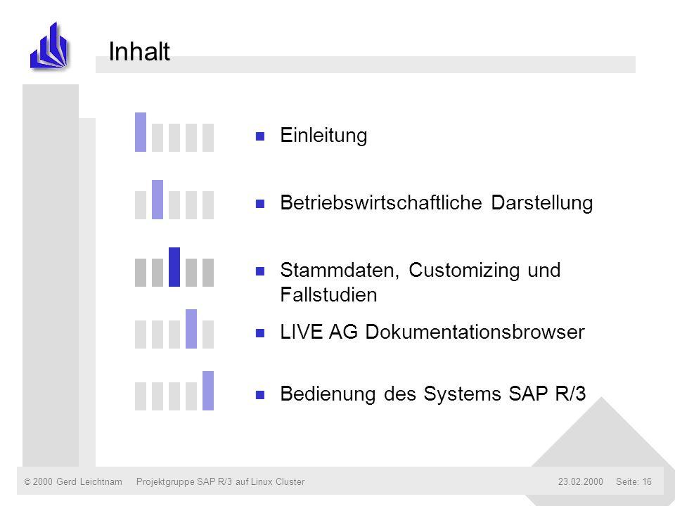 © 2000 Gerd Leichtnam23.02.2000Projektgruppe SAP R/3 auf Linux ClusterSeite: 16 Inhalt n Einleitung n Betriebswirtschaftliche Darstellung n Stammdaten