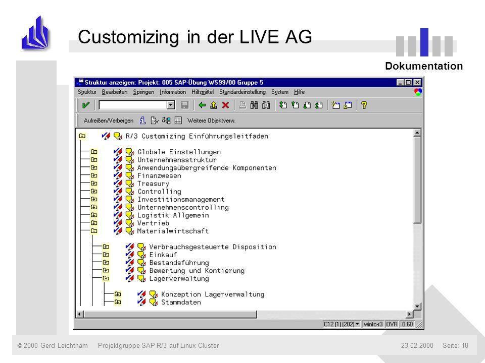 © 2000 Gerd Leichtnam23.02.2000Projektgruppe SAP R/3 auf Linux ClusterSeite: 18 Customizing in der LIVE AG Dokumentation