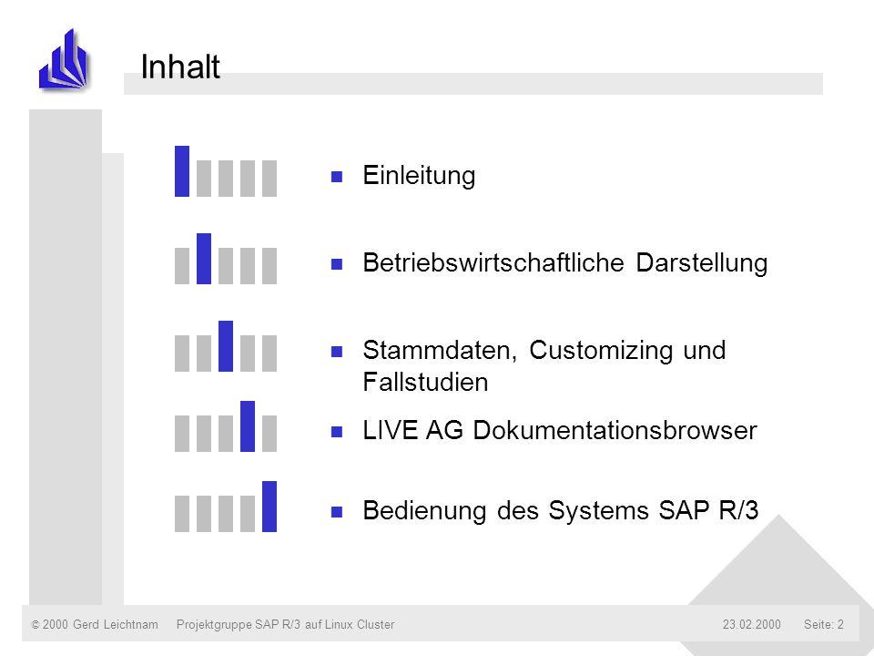 © 2000 Gerd Leichtnam23.02.2000Projektgruppe SAP R/3 auf Linux ClusterSeite: 2 Inhalt n Einleitung n Betriebswirtschaftliche Darstellung n Stammdaten,