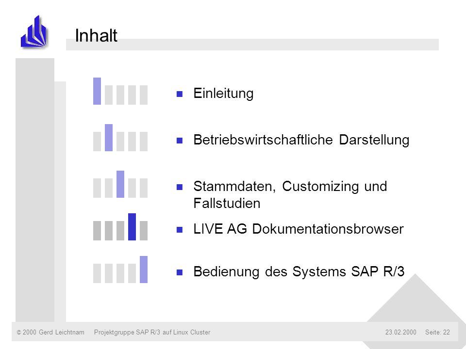 © 2000 Gerd Leichtnam23.02.2000Projektgruppe SAP R/3 auf Linux ClusterSeite: 22 Inhalt n Einleitung n Betriebswirtschaftliche Darstellung n Stammdaten