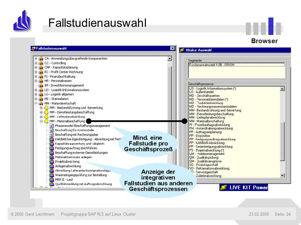 © 2000 Gerd Leichtnam23.02.2000Projektgruppe SAP R/3 auf Linux ClusterSeite: 24 Fallstudienauswahl Browser