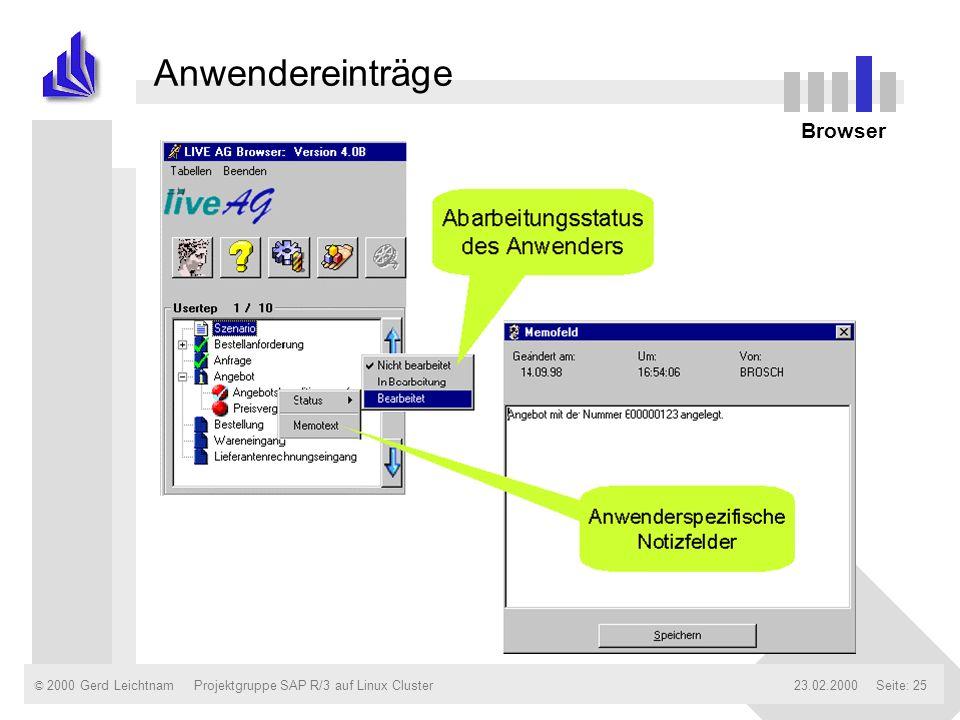 © 2000 Gerd Leichtnam23.02.2000Projektgruppe SAP R/3 auf Linux ClusterSeite: 25 Anwendereinträge Browser