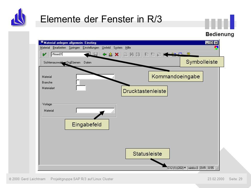 © 2000 Gerd Leichtnam23.02.2000Projektgruppe SAP R/3 auf Linux ClusterSeite: 29 Elemente der Fenster in R/3 Bedienung Symbolleiste Kommandoeingabe Sta