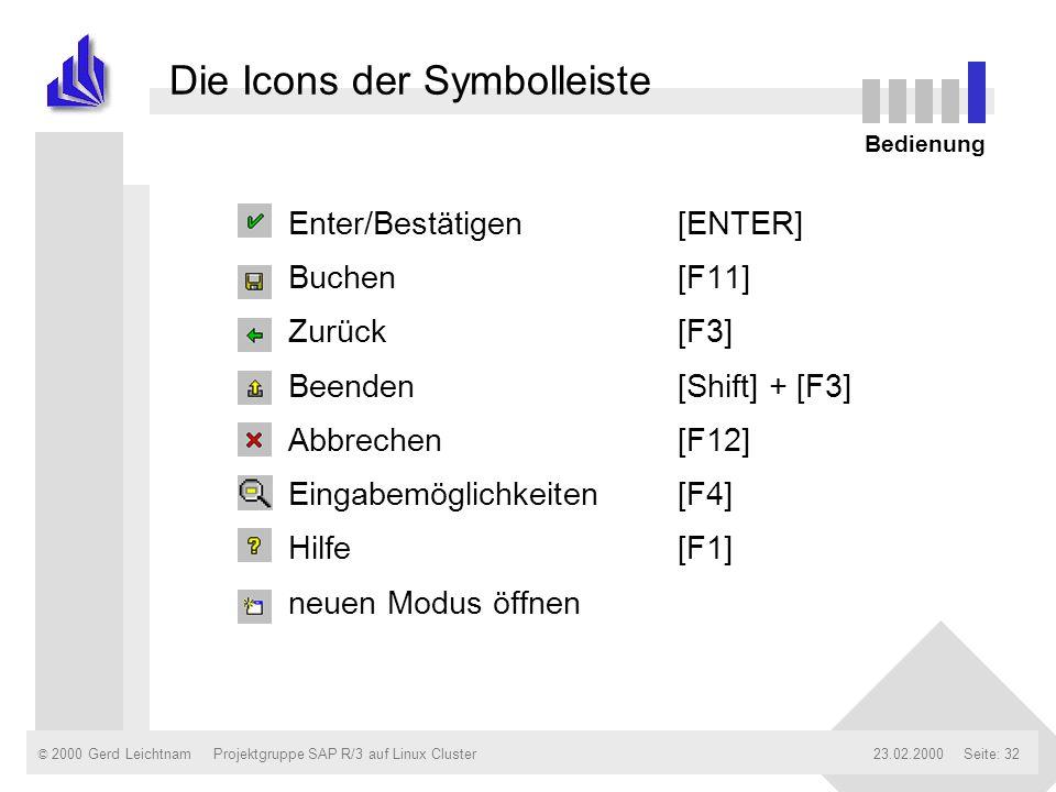 © 2000 Gerd Leichtnam23.02.2000Projektgruppe SAP R/3 auf Linux ClusterSeite: 32 Die Icons der Symbolleiste n Enter/Bestätigen[ENTER] n Buchen[F11] n Z