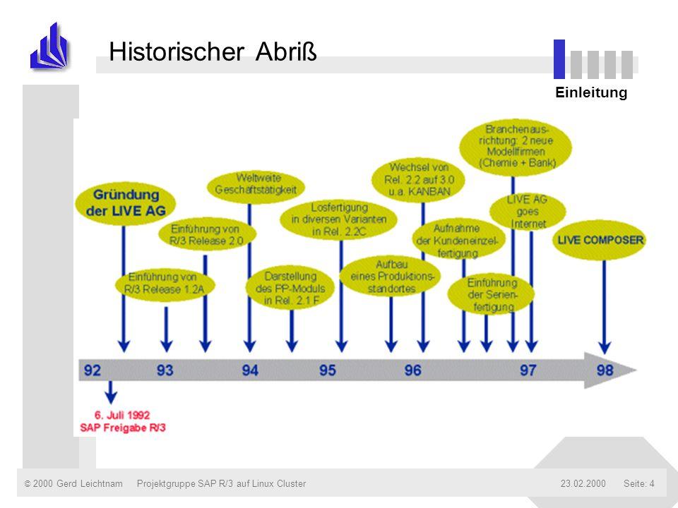 © 2000 Gerd Leichtnam23.02.2000Projektgruppe SAP R/3 auf Linux ClusterSeite: 4 Historischer Abriß Einleitung