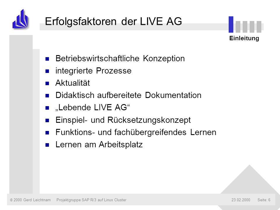 © 2000 Gerd Leichtnam23.02.2000Projektgruppe SAP R/3 auf Linux ClusterSeite: 6 Erfolgsfaktoren der LIVE AG n Betriebswirtschaftliche Konzeption n inte