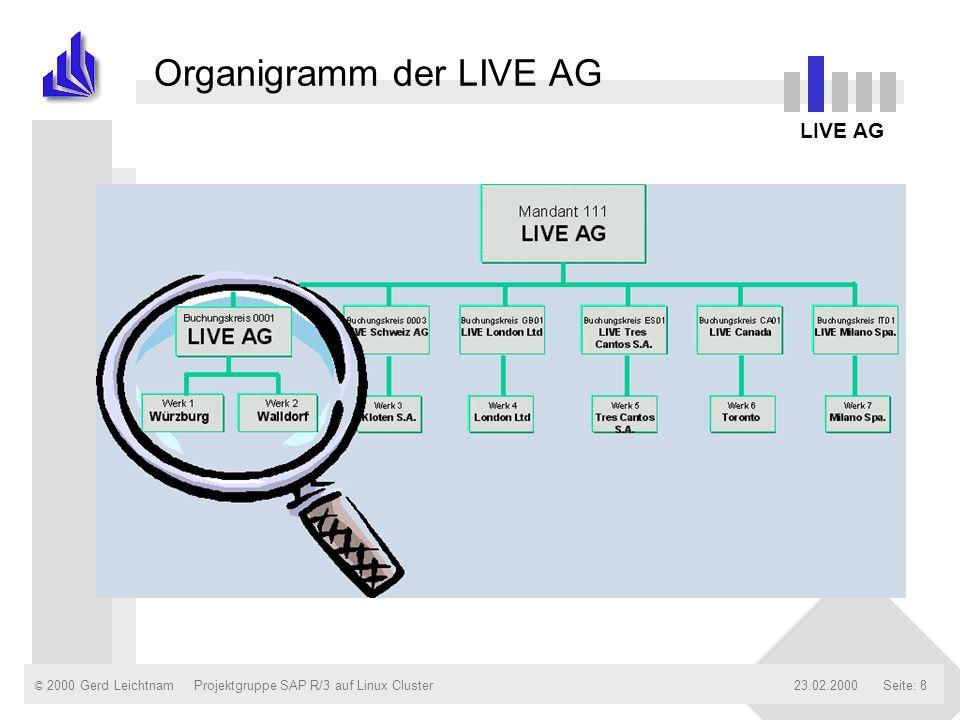 © 2000 Gerd Leichtnam23.02.2000Projektgruppe SAP R/3 auf Linux ClusterSeite: 19 Customizing in der LIVE AG Dokumentation