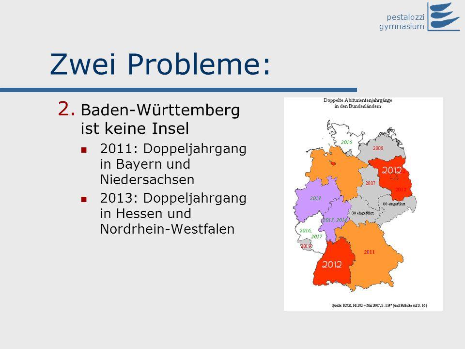 pestalozzi gymnasium Zwei Probleme: 2. Baden-Württemberg ist keine Insel 2011: Doppeljahrgang in Bayern und Niedersachsen 2013: Doppeljahrgang in Hess