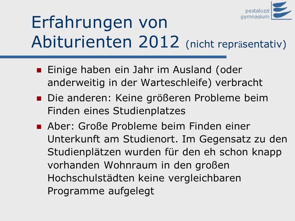 pestalozzi gymnasium Erfahrungen von Abiturienten 2012 (nicht repr ä sentativ) Einige haben ein Jahr im Ausland (oder anderweitig in der Warteschleife