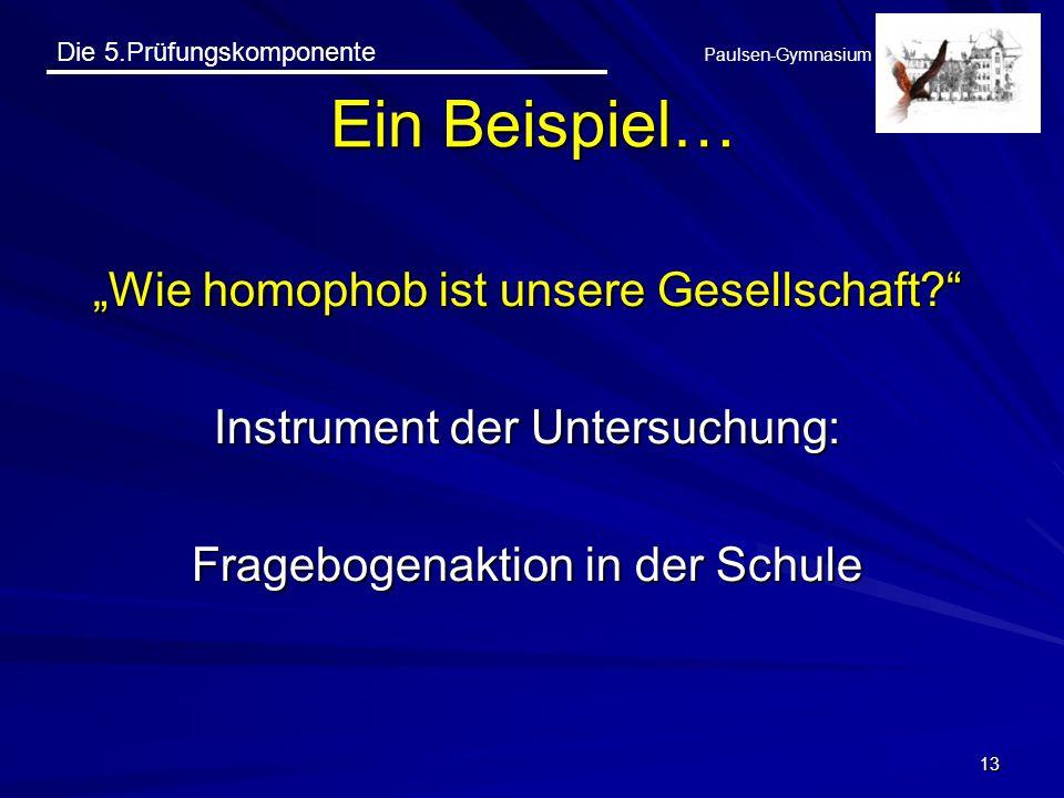 Die 5.Prüfungskomponente Paulsen-Gymnasium Wie homophob ist unsere Gesellschaft? Instrument der Untersuchung: Fragebogenaktion in der Schule 13 Ein Be