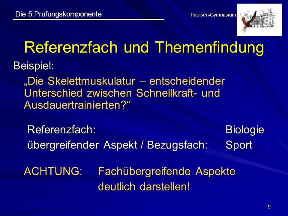 Die 5.Prüfungskomponente Paulsen-Gymnasium 9 Referenzfach und Themenfindung Beispiel: Die Skelettmuskulatur – entscheidender Unterschied zwischen Schn