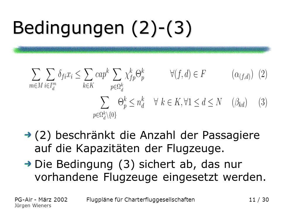 Flugpläne für CharterfluggesellschaftenPG-Air - März 2002 Jürgen Wieners 11 / 30 Bedingungen (2)-(3) (2) beschränkt die Anzahl der Passagiere auf die