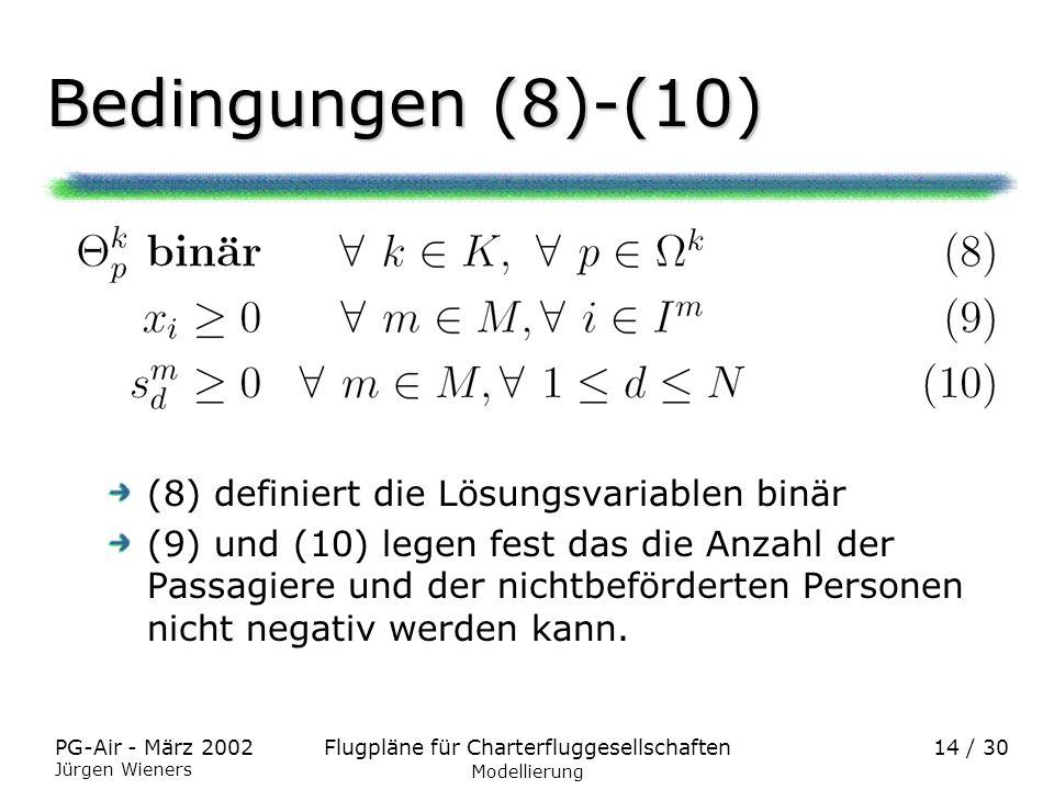 Flugpläne für CharterfluggesellschaftenPG-Air - März 2002 Jürgen Wieners 14 / 30 Bedingungen (8)-(10) Modellierung (8) definiert die Lösungsvariablen