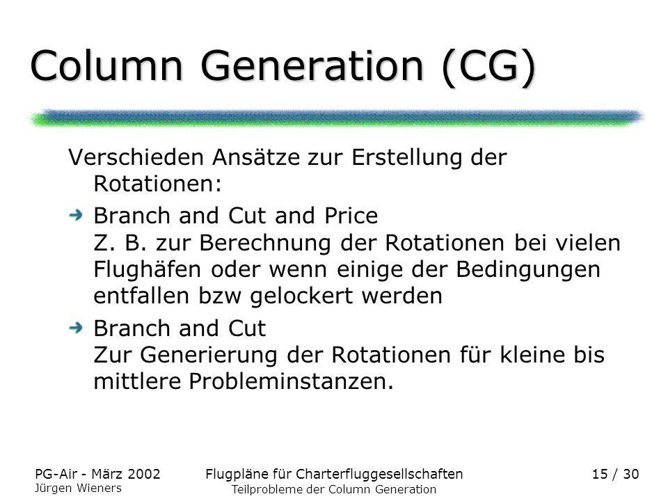 Flugpläne für CharterfluggesellschaftenPG-Air - März 2002 Jürgen Wieners 15 / 30 Column Generation (CG) Teilprobleme der Column Generation Verschieden