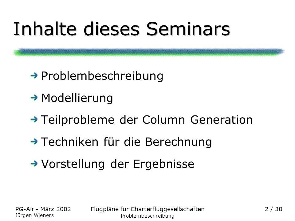 Flugpläne für CharterfluggesellschaftenPG-Air - März 2002 Jürgen Wieners 2 / 30 Inhalte dieses Seminars Problembeschreibung Modellierung Teilprobleme