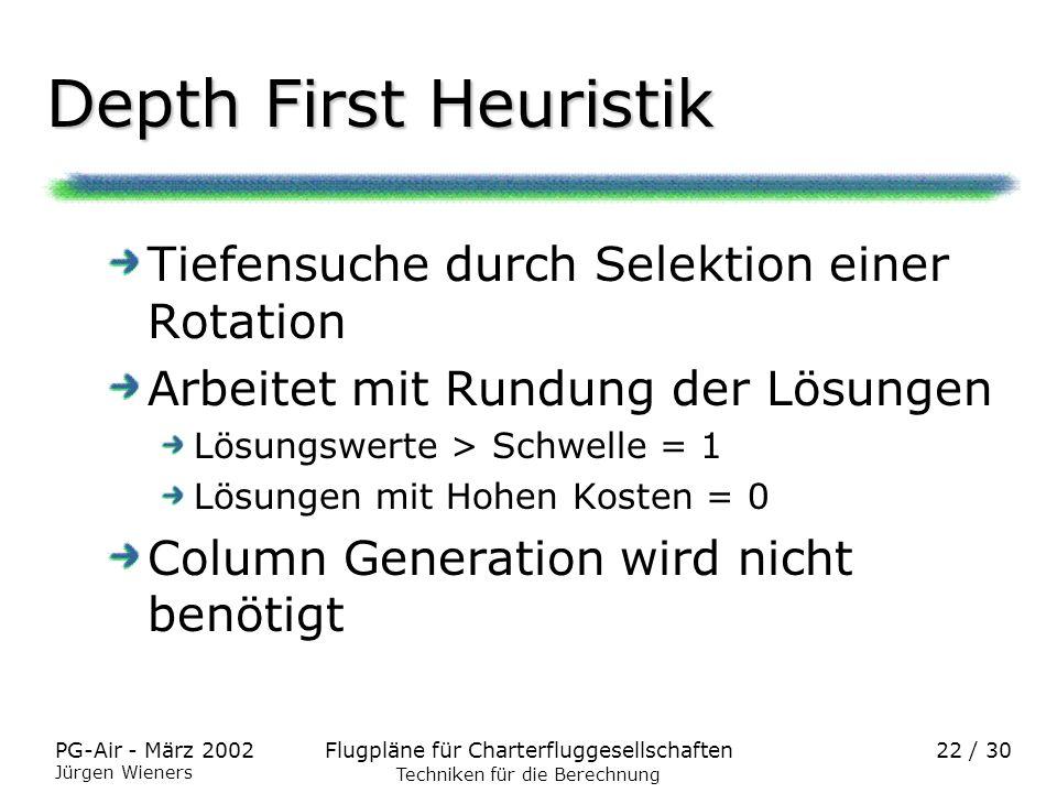 Flugpläne für CharterfluggesellschaftenPG-Air - März 2002 Jürgen Wieners 22 / 30 Depth First Heuristik Tiefensuche durch Selektion einer Rotation Arbe