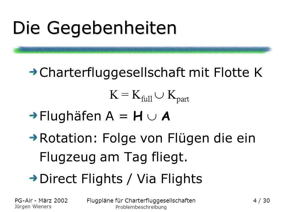 Flugpläne für CharterfluggesellschaftenPG-Air - März 2002 Jürgen Wieners 4 / 30 Die Gegebenheiten Charterfluggesellschaft mit Flotte K K = K full K pa