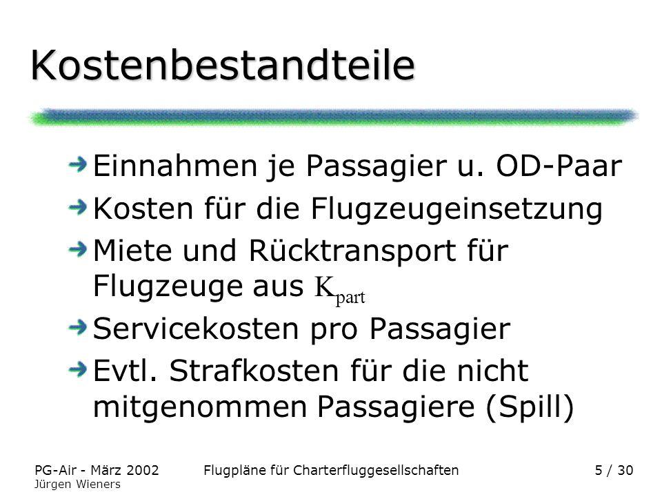 Flugpläne für CharterfluggesellschaftenPG-Air - März 2002 Jürgen Wieners 5 / 30 Kostenbestandteile Einnahmen je Passagier u. OD-Paar Kosten für die Fl