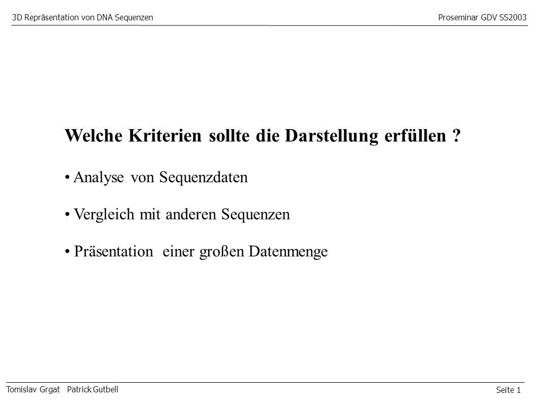 Seite 1 Tomislav Grgat Patrick Gutbell 3D Repräsentation von DNA SequenzenProseminar GDV SS2003 Welche Kriterien sollte die Darstellung erfüllen .