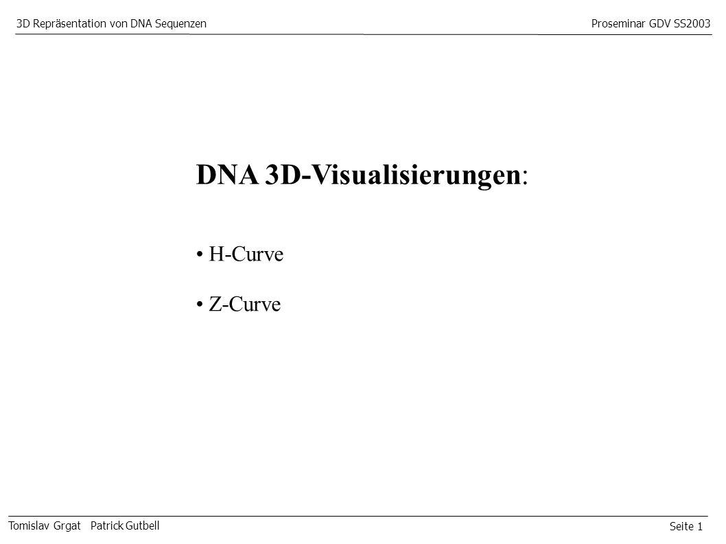 Seite 1 Tomislav Grgat Patrick Gutbell 3D Repräsentation von DNA SequenzenProseminar GDV SS2003 DNA 3D-Visualisierungen: H-Curve Z-Curve