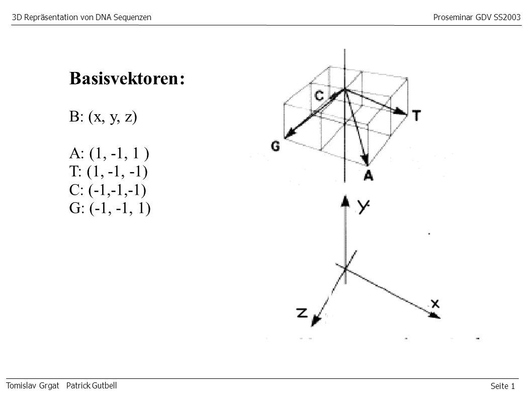 Seite 1 Tomislav Grgat Patrick Gutbell 3D Repräsentation von DNA SequenzenProseminar GDV SS2003 Basisvektoren: B: (x, y, z) A: (1, -1, 1 ) T: (1, -1, -1) C: (-1,-1,-1) G: (-1, -1, 1)