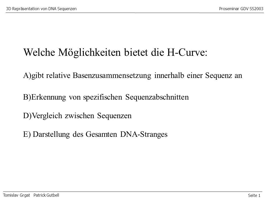Seite 1 Tomislav Grgat Patrick Gutbell 3D Repräsentation von DNA SequenzenProseminar GDV SS2003 Welche Möglichkeiten bietet die H-Curve: A)gibt relative Basenzusammensetzung innerhalb einer Sequenz an B)Erkennung von spezifischen Sequenzabschnitten D)Vergleich zwischen Sequenzen E) Darstellung des Gesamten DNA-Stranges