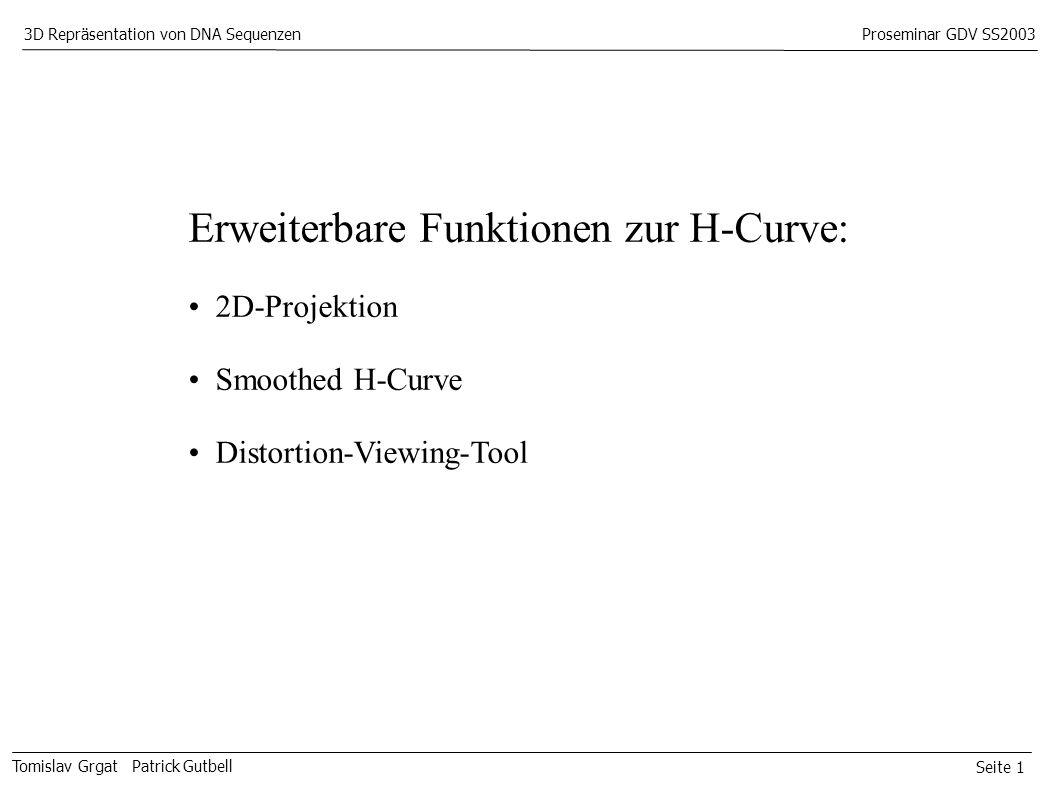 Seite 1 Tomislav Grgat Patrick Gutbell 3D Repräsentation von DNA SequenzenProseminar GDV SS2003 Erweiterbare Funktionen zur H-Curve: 2D-Projektion Smoothed H-Curve Distortion-Viewing-Tool