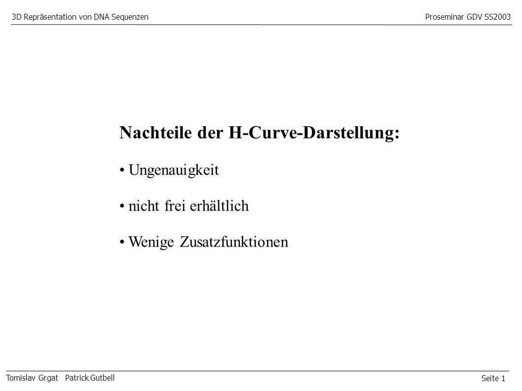 Seite 1 Tomislav Grgat Patrick Gutbell 3D Repräsentation von DNA SequenzenProseminar GDV SS2003 Nachteile der H-Curve-Darstellung: Ungenauigkeit nicht frei erhältlich Wenige Zusatzfunktionen