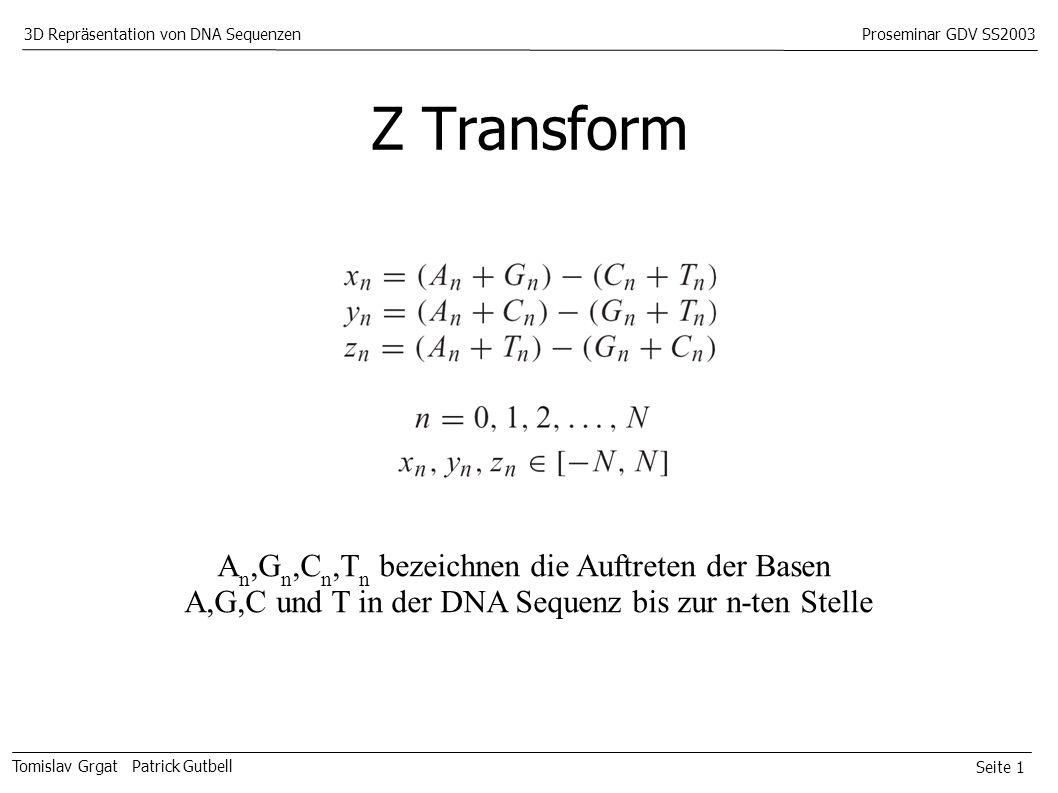Seite 1 Tomislav Grgat Patrick Gutbell 3D Repräsentation von DNA SequenzenProseminar GDV SS2003 Z Transform A n,G n,C n,T n bezeichnen die Auftreten der Basen A,G,C und T in der DNA Sequenz bis zur n-ten Stelle