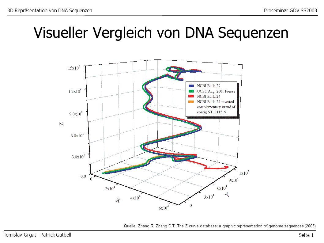 Seite 1 Tomislav Grgat Patrick Gutbell 3D Repräsentation von DNA SequenzenProseminar GDV SS2003 Visueller Vergleich von DNA Sequenzen Quelle: Zhang R, Zhang C.T: The Z curve database: a graphic representation of genome sequences (2003)
