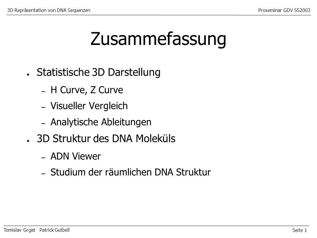 Seite 1 Tomislav Grgat Patrick Gutbell 3D Repräsentation von DNA SequenzenProseminar GDV SS2003 Zusammefassung Statistische 3D Darstellung – H Curve, Z Curve – Visueller Vergleich – Analytische Ableitungen 3D Struktur des DNA Moleküls – ADN Viewer – Studium der räumlichen DNA Struktur