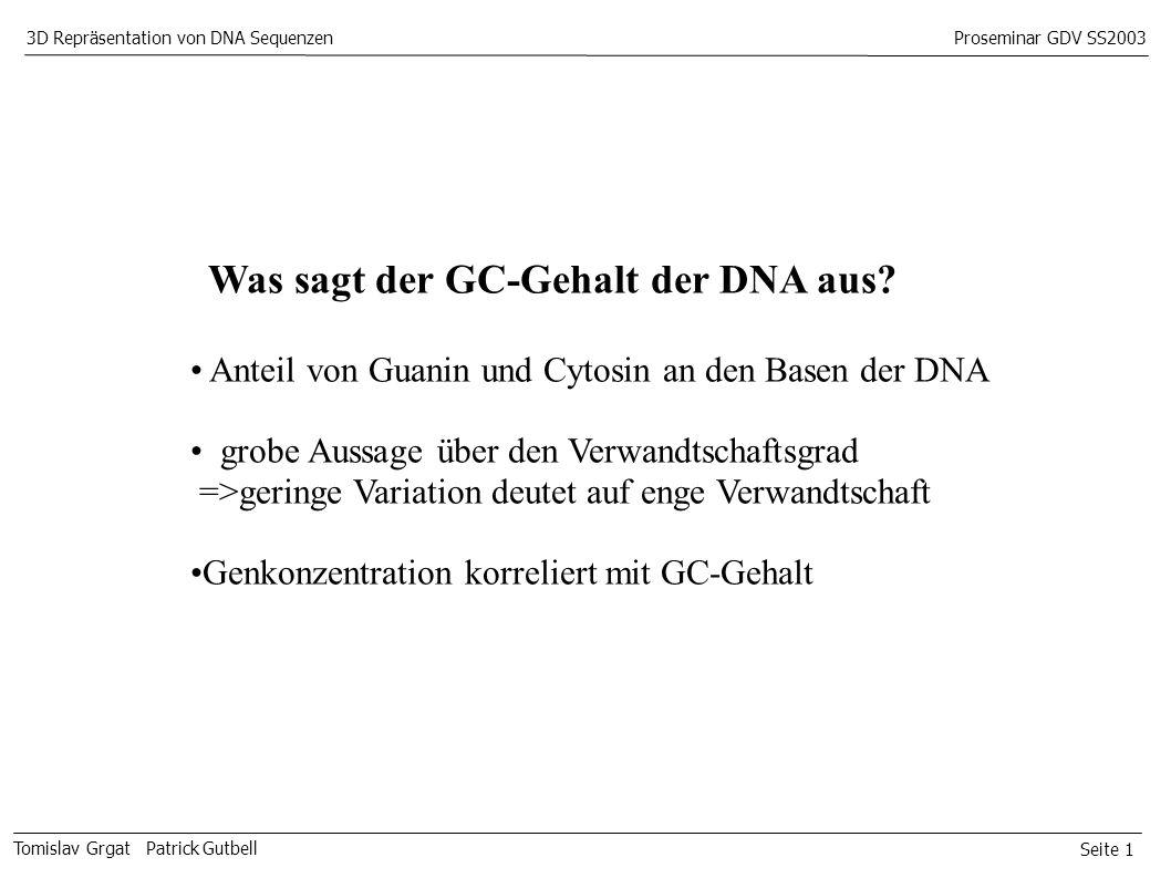 Seite 1 Tomislav Grgat Patrick Gutbell 3D Repräsentation von DNA SequenzenProseminar GDV SS2003 Was sagt der GC-Gehalt der DNA aus.