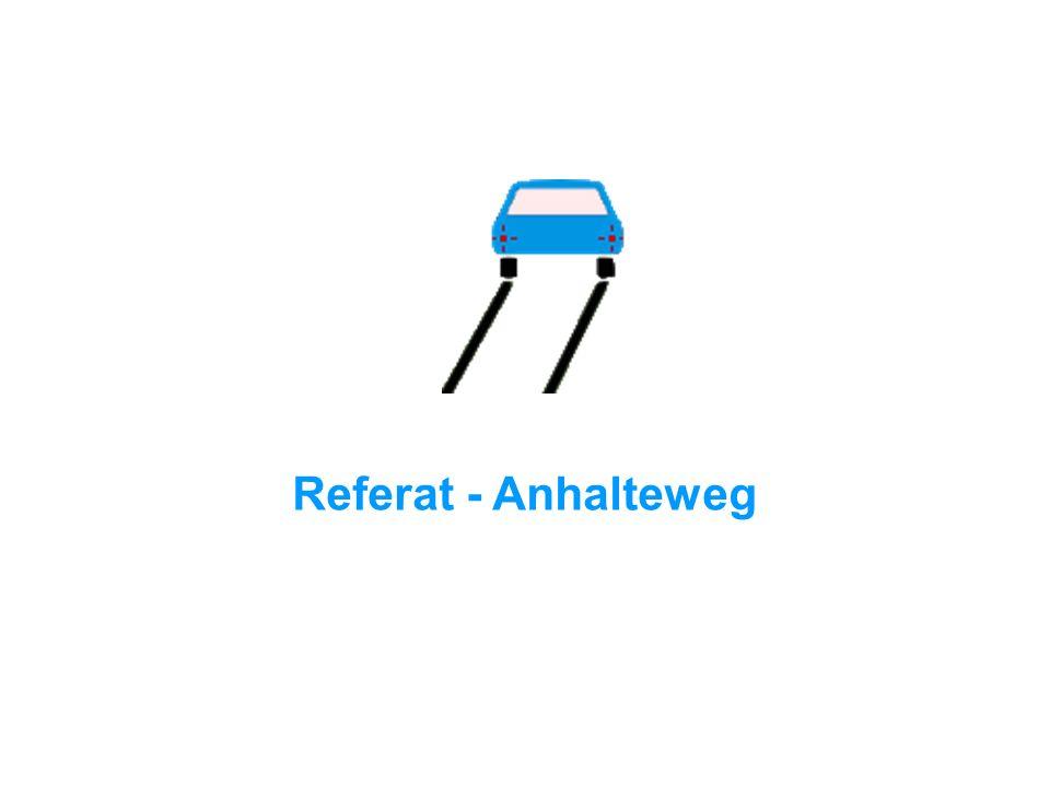 Woraus setzt sich der Anhalteweg zusammen? Reaktionszeit + Bremsweg = Anhalteweg