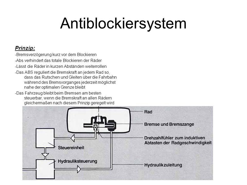Antiblockiersystem Prinzip: -Bremsverzögerung kurz vor dem Blockieren -Abs verhindert das totale Blockieren der Räder -Lässt die Räder in kurzen Abstä