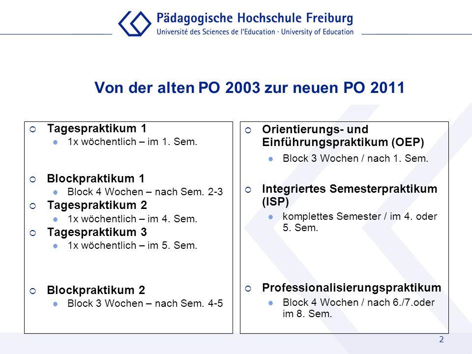 2 Von der alten PO 2003 zur neuen PO 2011 Tagespraktikum 1 1x wöchentlich – im 1. Sem. Blockpraktikum 1 Block 4 Wochen – nach Sem. 2-3 Tagespraktikum