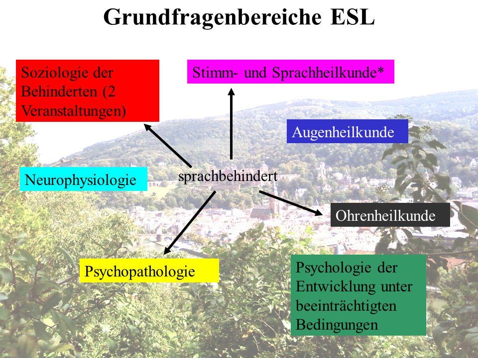 Soziologie der Behinderten (2 Veranstaltungen) Psychopathologie Augenheilkunde Ohrenheilkunde Stimm- und Sprachheilkunde* Neurophysiologie Psychologie