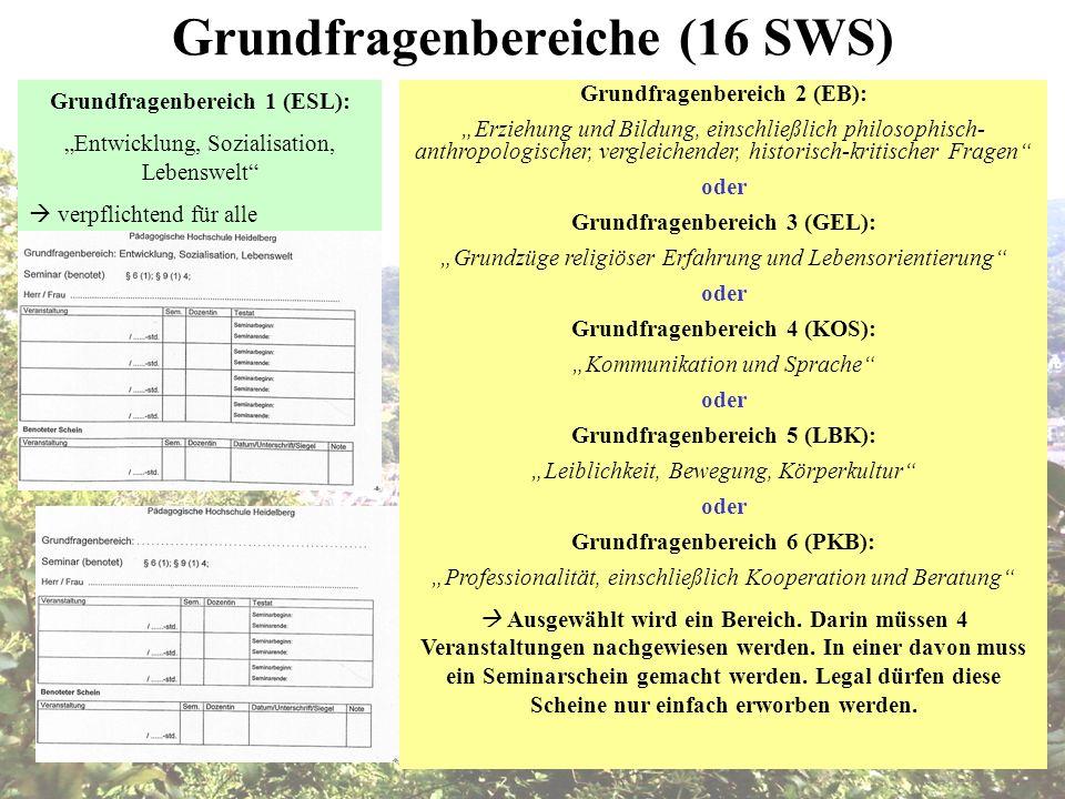 Grundfragenbereiche (16 SWS) Grundfragenbereich 1 (ESL): Entwicklung, Sozialisation, Lebenswelt verpflichtend für alle Grundfragenbereich 2 (EB): Erzi
