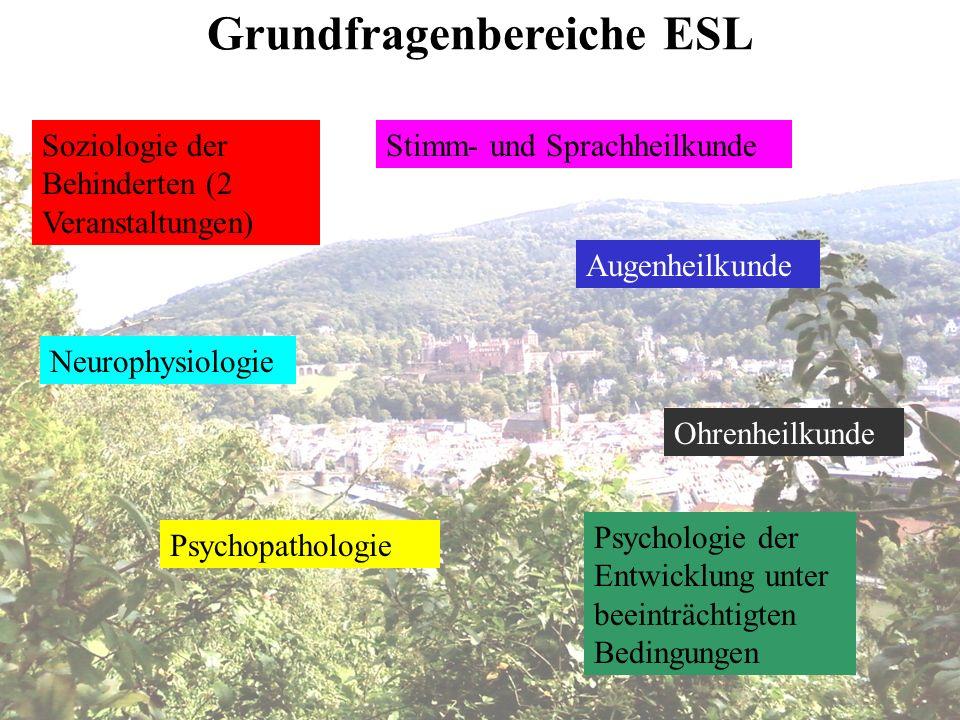 Soziologie der Behinderten (2 Veranstaltungen) Psychopathologie Augenheilkunde Ohrenheilkunde Stimm- und Sprachheilkunde Neurophysiologie Psychologie