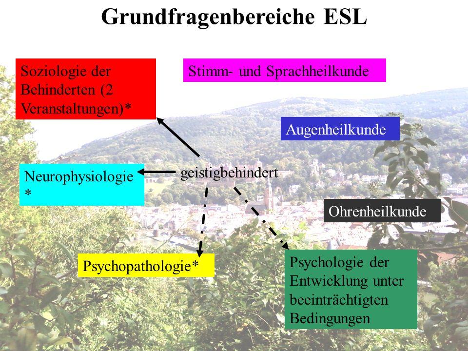 Soziologie der Behinderten (2 Veranstaltungen)* Psychopathologie* Augenheilkunde Ohrenheilkunde Stimm- und Sprachheilkunde Neurophysiologie * Psycholo