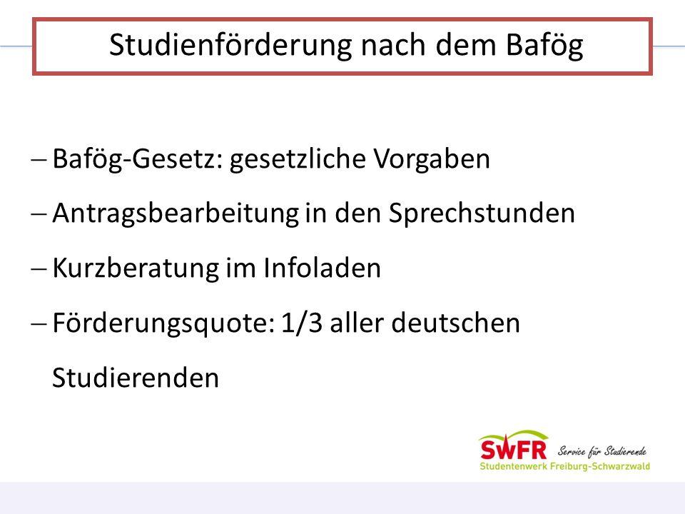 Bafög-Gesetz: gesetzliche Vorgaben Antragsbearbeitung in den Sprechstunden Kurzberatung im Infoladen Förderungsquote: 1/3 aller deutschen Studierenden
