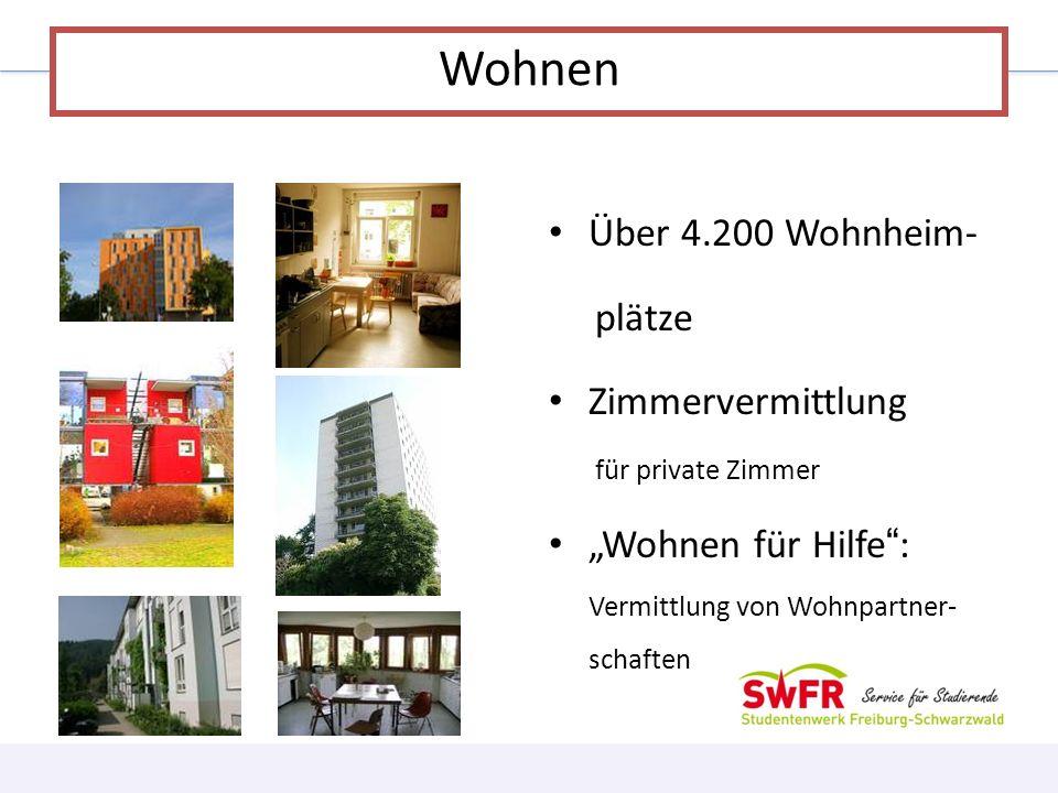 Über 4.200 Wohnheim- plätze Zimmervermittlung für private Zimmer Wohnen für Hilfe: Vermittlung von Wohnpartner- schaften Wohnen