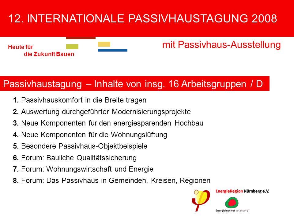 12.INTERNATIONALE PASSIVHAUSTAGUNG 2008 mit Passivhaus-Ausstellung Heute für die Zukunft Bauen 9.