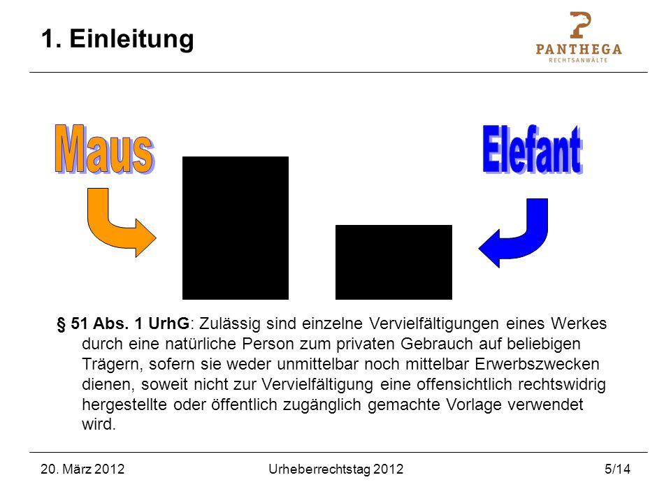 20. März 2012Urheberrechtstag 20125/14 1. Einleitung § 51 Abs. 1 UrhG: Zulässig sind einzelne Vervielfältigungen eines Werkes durch eine natürliche Pe