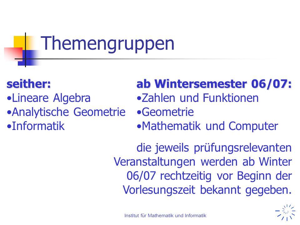 Institut für Mathematik und Informatik Themengruppen seither: Lineare Algebra Analytische Geometrie Informatik ab Wintersemester 06/07: Zahlen und Fun