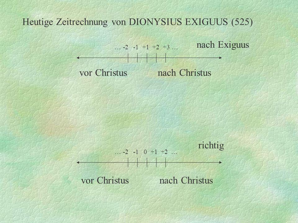 Heutige Zeitrechnung von DIONYSIUS EXIGUUS (525) … -2 -1 0 +1 +2 … richtig vor Christus nach Christus … -2 -1 +1 +2 +3 … nach Exiguus vor Christus nac