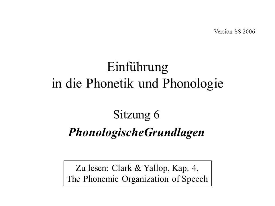 Einführung in die Phonetik und Phonologie Sitzung 6 PhonologischeGrundlagen Zu lesen: Clark & Yallop, Kap. 4, The Phonemic Organization of Speech Vers